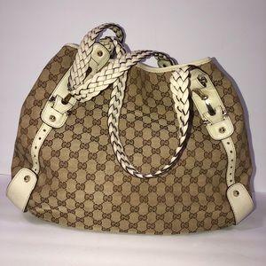 Gucci Ivory Canvas Monogram Shoulder Bag